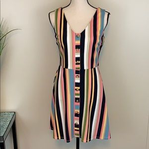 NWT BCX Stripe and Button Detail Fit & Flare
